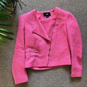 H&M Pink Tweed Moto Jacket
